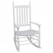 vidaXL Люлеещ се стол със заоблена седалка, бял, дърво