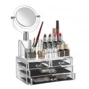 Organizator cosmetice din acril cu oglinda