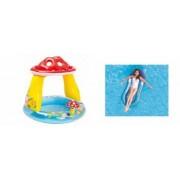 Pachet Piscina Gonflabila pentru Copii Tip Ciupercuta cu Parasolar Model 57114 102 x 89 cm + Saltea Gonflabila de Apa cu