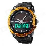 SKMEI 1049 50m impermeable solar de doble Movimiento Double Time Muestra reloj de los hombres del deporte - Negro + Oro