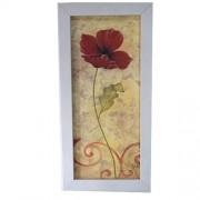 Tablou pictat manual cu mac rosu si rama alba din lemn