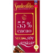 CHOCOLATE NEGRO 55 CACAO SIN AZUCAR. 200 GRS