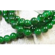 Glaspärlor Runda - Jade imitation, Gröna 8mm, 1 sträng