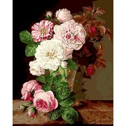 without frame, flower-140: Paint by Numbers, DIY Oil Painting Pink And White Flowers Canvas Print Wall Art Home Decoration Without Frame by Rihe
