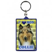 Porte clé 3D J'aime mon Collie