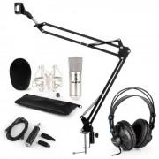 CM001S Set Microfono V3 Cuffie Condensatore Adattatore USB Braccio argento