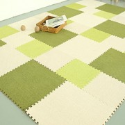 """yazi Fuzzy Area Rug Puzzle Play Mats Set of 9 Tiles Light Green Color, Each tile is 1 sqft 12"""" x 12"""" x 0.43"""""""