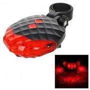5 LED 7 modo rojo + 2-Laser rojo bicicleta seguridad cola lampara - rojo