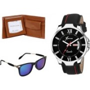 Rich Club Round Sunglass, Analog Watch, Wallet Combo(Black, Brown, Blue)