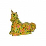 Pomme Pidou Spaarpot eenhoorn geel met hartjes print 17 cm