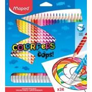 Creioane colorate Color Peps Oops cu guma 24 culori/set Maped
