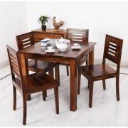BM WOOD FURNITURE Sheesham Wood Dining Table 4 Seater Dining Table Chair Set Teak Finish