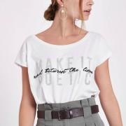 River Island Womens Petite White 'make it poetic' print T-shirt (Size 12)