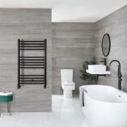 HudsonReed Sèche-serviettes plat – Noir mat – 100 cm x 50 cm - Nox