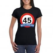 Bellatio Decorations Verkeersbord 45 jaar t-shirt zwart dames