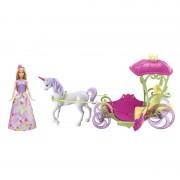 Papusa Barbie cu unicorn si trasura Dreamtopia, 3 ani+