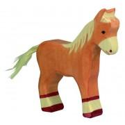 Fa játék állatok - ló, csikó, világosbarna, álló