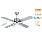 Agitatore/Ventilatore da soffitto con 4 pale in legno finitura Silver 1 lampada Vinco - BIG 70932