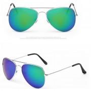 Merkloos Festival/Feest aviator zonnebril zilver voor volwassenen