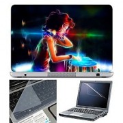 FineArts Laptop Skin - DJ Girl With Screen Guard and Key Protector - Size 15.6 inch