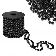 Sirag margele decorative de Craciun, pentru brad, 8mm x 10m, negru