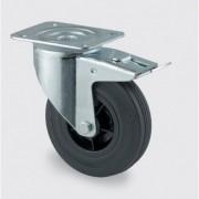 TENTE Transportní kolečko otočné s brzdou 200 mm, černá guma