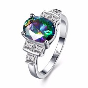 INALIS Sweet Ring Platinum Rainbow Zircon Square Crystal Rings For Women