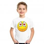 Bellatio Decorations Emoticon verliefd t-shirt wit kinderen