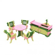 Kerocy Toy Furniture Set Wooden Miniature Pretend Play Bathroom/ Kid Room/ Bedroom/ Kitchen House Furniture Toys for 4-5 Years Old (Kitchen)