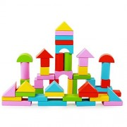 Wooden Building Block Set - 50 Pieces in 5 Colors and 6 Shapes - Rainbow Colored Wood Blocks for Kids Basic Educational Build & Play Toy by Funwill