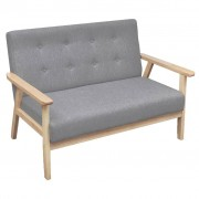 vidaXL Sofa 2-osobowa, tapicerowana tkaniną, jasnoszara