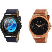 Gen-Z Trendy Graphic Leather Strap Zen Wave Combo of 2 watches for Men GENZ-CO-ZEN-WAVE
