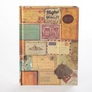 Agenda vintage, decorata cu timbre, si inchidere cu magnet
