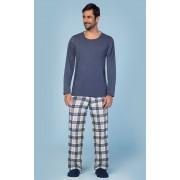 Pijama Masculino Adulto Longo Lua Encantada Flanelado Blusa Azul e Calça xadrez