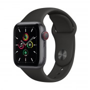 Smartwatch Apple Watch SE GPS + Cellular, 40mm, 4G, Carcasa Space Gray Aluminium, Bratara Black Sport Band