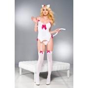 Music Legs Playful Kitty BLANC/FUCHSIA