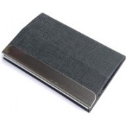 Golden Feather High Quality Foldable Table and Pocket Card Holders   Stylish Black Leatherite Look Leatherite piece Silver Metal Business Credit/debit/ATM/ID/Visiting card holder SUPER SLEEK, STURDY: Magnetic Lock Card Holder : Model CH11 : 15 Card Holder