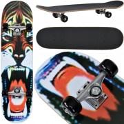 [pro.tec] Monopatín Skateboard para el cruising en la ciudad y el parque - 79 x 20,5 x 13,5 cm - Retro Board (tigre salvaje)