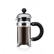 Bodum CHAMBORD® Cafetière à piston, 3 tasses, 0.35 l, acier inox, avec poignée à prise confortable Brillant