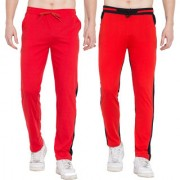 Cliths Cotton Track Pants for Men/ Mens Sports lower Stylish/ Stylish Jogger Pants For Mens- Pack of 2 (Red Black)