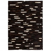 vidaXL fekete/fehér, foltvarrott, valódi bőr szőnyeg 80 x 150 cm
