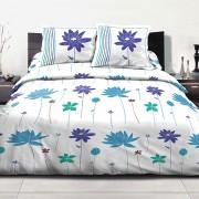 Parure de lit Polycoton 220x240 cm Flora Bleu