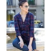 Venca Blusa de franela cuadros tejidos con bolsillos azul L