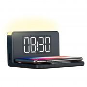 Despertador LED Ksix com Carregador Sem Fio e Luz de Noite - 10W
