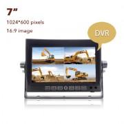 """DVR 7"""" cúvací LCD monitor s možnosťou pripojenia a nahrávania záznamu zo 4 cúvacích kamier"""