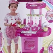 ER Juego Para Niños Baby Toy Cocina Simulación Mesa Utensilios -Rosa