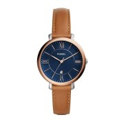 Fossil Ladies Jacqueline Blue Face Rose Gold Case Brown Leather Band Model ES4274