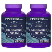Piping Rock Niacinamide B-3 500 mg 2 Bottles x 200 Quick Release Capsules Vitamin Supplement