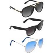 Zyaden Rectangular, Wayfarer, Aviator Sunglasses(Black, Blue, Blue)