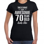 Bellatio Decorations Awesome 70 year cadeau t-shirt zwart voor dames M - Feestshirts